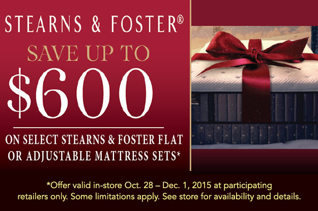 Stearns and Foster Save $600 Thanksgiving Offer
